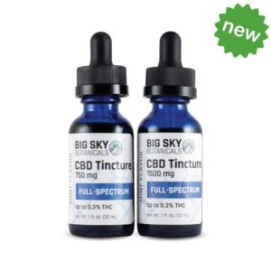 Full spectrum CBD oil tinctures group shot with new badge